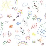 Fondo inconsútil, textura de la colección de dibujo del ` s de los niños fotografía de archivo