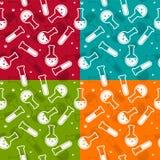 Fondo inconsútil - tubos de ensayo y frascos ilustración del vector
