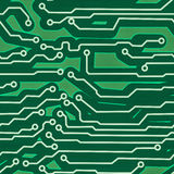 Fondo inconsútil verde de la tarjeta de circuitos de ordenador Foto de archivo libre de regalías