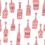 Fondo incons?til del modelo con el ejemplo de las botellas de la barra stock de ilustración
