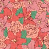 Fondo inconsútil con el lirio y las rosas rosados. Fotografía de archivo