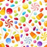 Fondo inconsútil con los caramelos de Halloween Ilustración del vector Fotografía de archivo