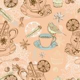 Fondo inconsútil del doodle con el vino caliente reflexionado sobre Imágenes de archivo libres de regalías