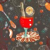 Fondo inconsútil del doodle con el vino caliente reflexionado sobre Fotos de archivo
