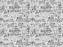 Fondo inconsútil del modelo de la fiesta de cumpleaños del garabato Foto de archivo libre de regalías