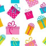 Fondo inconsútil del modelo del día de fiesta de la caja de regalo Fotos de archivo libres de regalías