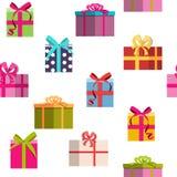 Fondo inconsútil del modelo del día de fiesta de la caja de regalo Foto de archivo libre de regalías