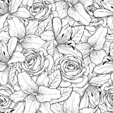 Fondo inconsútil hermoso con el lirio y las rosas blancos y negros Foto de archivo libre de regalías