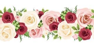 Fondo inconsútil horizontal con las rosas rojas, rosadas y blancas Ilustración del vector Fotos de archivo libres de regalías