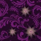 Fondo inconsútil púrpura con las flores Imagen de archivo