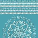 Fondo indiano blu e crema della mandala dell'elefante del hennè illustrazione vettoriale