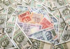 Fondo indiano dei contanti del rupe Fotografia Stock