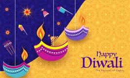 Fondo indiano di celebrazione di festival con il crac piano del fuoco di stile illustrazione di stock
