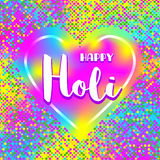 Fondo indiano variopinto di Holi di festival del manifesto della carta felice del quadrato Fotografia Stock