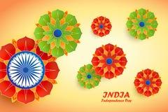 Fondo indio del extracto del Día de la Independencia con las flores y la ceniza stock de ilustración