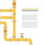 Fondo industrial con la tubería amarilla Aceite, agua o gaseoducto con las colocaciones y las válvulas Fotos de archivo