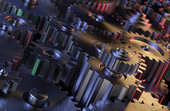 Fondo industrial de los engranajes Fotografía de archivo libre de regalías