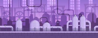 Fondo industrial del juego listo de la paralaje