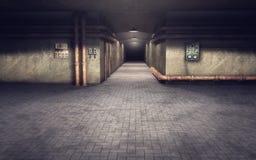 Fondo industrial del pasillo del sótano Imágenes de archivo libres de regalías