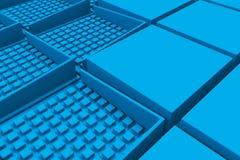 Fondo industrial futurista hecho de formas cuadradas azules Fotografía de archivo libre de regalías