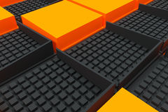 Fondo industrial futurista hecho de squa negro y anaranjado Foto de archivo