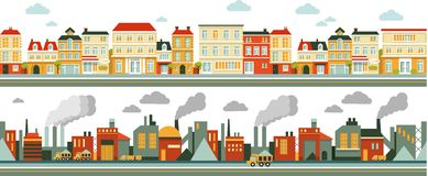 Fondo industrial y de la ciudad del panorama en plano Fotografía de archivo