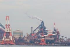 Fondo industriale di scena Paesaggio di industria a porto Fotografia Stock