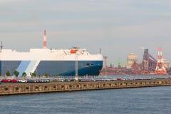 Fondo industriale di scena Paesaggio di industria a porto gene Fotografie Stock