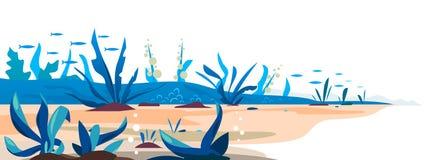 Fondo inferiore subacqueo del modello delle piante illustrazione di stock