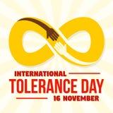 Fondo infinito del concepto del día de la tolerancia, estilo plano stock de ilustración
