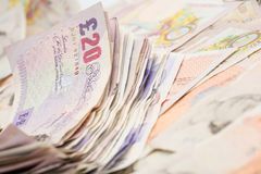Fondo inglés de los billetes de banco Imagen de archivo