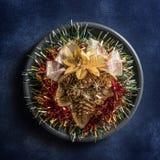 Fondo inmóvil de las decoraciones de la vida de la Navidad fotografía de archivo libre de regalías