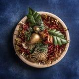 Fondo inmóvil de las decoraciones de la vida de la Navidad foto de archivo libre de regalías