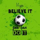 Fondo inspirado del fútbol o del fútbol de la cita Imagen de archivo