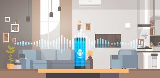 Fondo interior ai elegante del reconocimiento de la tecnología de la sala de estar auxiliar activada por voz inteligente casera d stock de ilustración