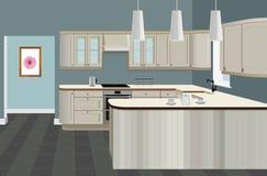Fondo interior de la cocina con muebles Diseño de cocina moderna Muebles del símbolo, ejemplo de la cocina Foto de archivo libre de regalías