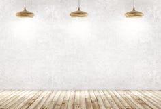 Fondo interior de un cuarto con tres lámparas de madera sobre concr stock de ilustración