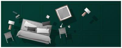 Fondo interior del concepto con los muebles que asoman en nuevo dormitorio ilustración del vector