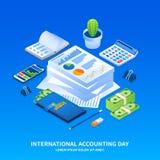 Fondo internacional del concepto del día de contabilidad, estilo isométrico libre illustration