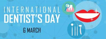 Fondo internazionale di giorno dei dentisti il 6 marzo illustrazione di stock