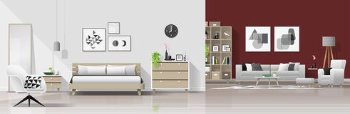 Fondo interno della casa moderna con la combinazione del salone e della camera da letto illustrazione vettoriale