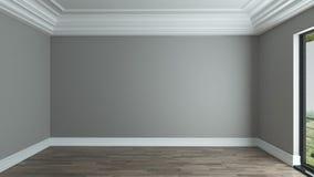 Fondo interno della stanza vuota con il soffitto decorativo Fotografia Stock