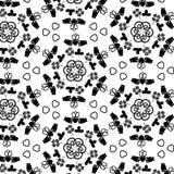 Fondo irlandés hexagonal geométrico blanco y negro del modelo de los símbolos con el anillo, los espirales, los corazones y los t stock de ilustración
