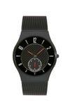 Fondo isolato orologio di titanio nero Fotografia Stock