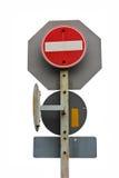 Fondo isolato trasporto di sicurezza dei segnali stradali Fotografia Stock Libera da Diritti