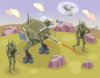Fondo isométrico de los robots militares libre illustration