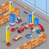Fondo isométrico robótico de Warehouse ilustración del vector