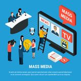Fondo isometrico dell'agenzia giornalistica illustrazione di stock