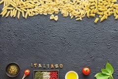 Fondo italiano de las pastas Concepto de Italiano Imágenes de archivo libres de regalías