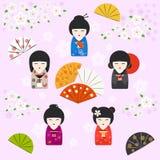 Fondo japonés de las muñecas del kokeshi stock de ilustración